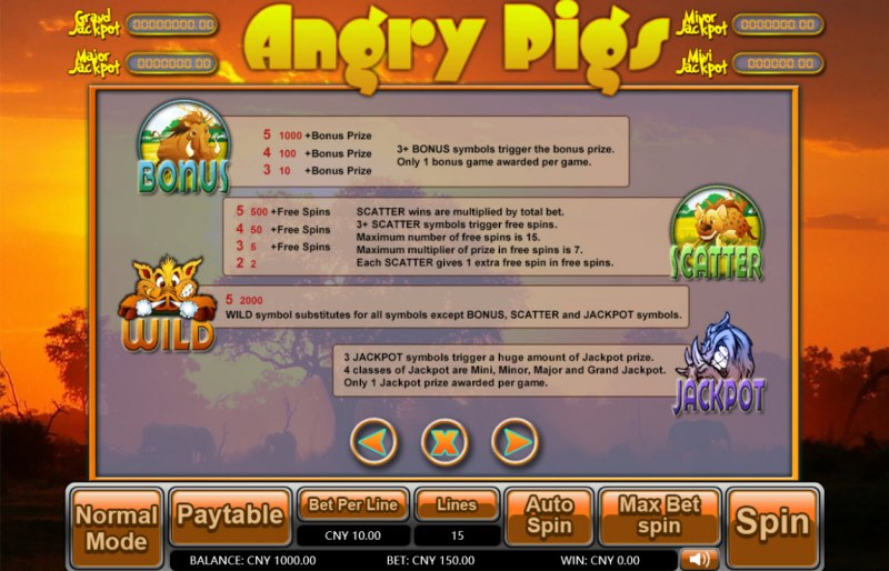 Angry Pigs :: Bonus, Jackpot, Scatter and Wild Rules