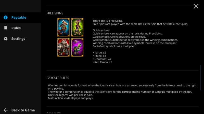 Animal Quest :: Free Spin Feature Rules