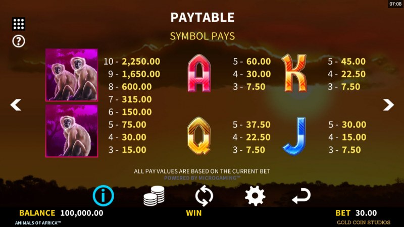 Animals of Africa :: Paytable - Low Value Symbols