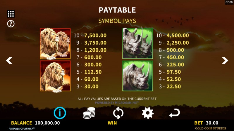 Animals of Africa :: Paytable - High Value Symbols