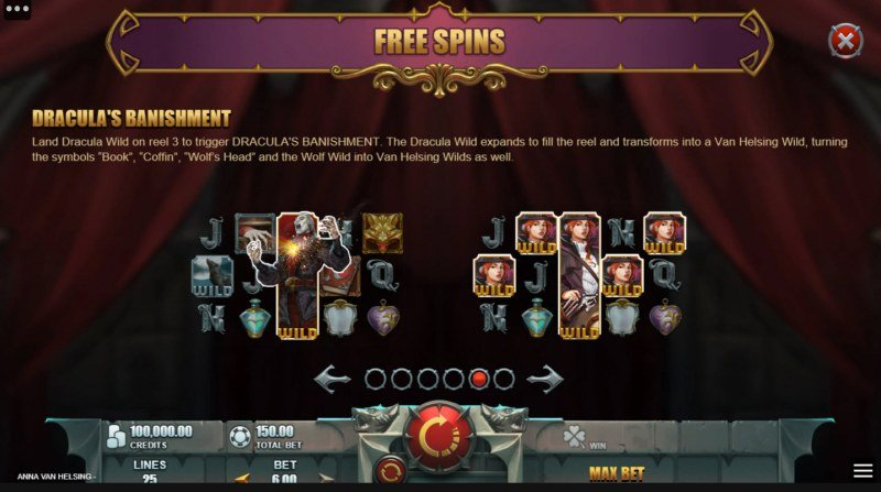 Anna Van Helsing Monster Huntress :: Free Spin Feature Rules