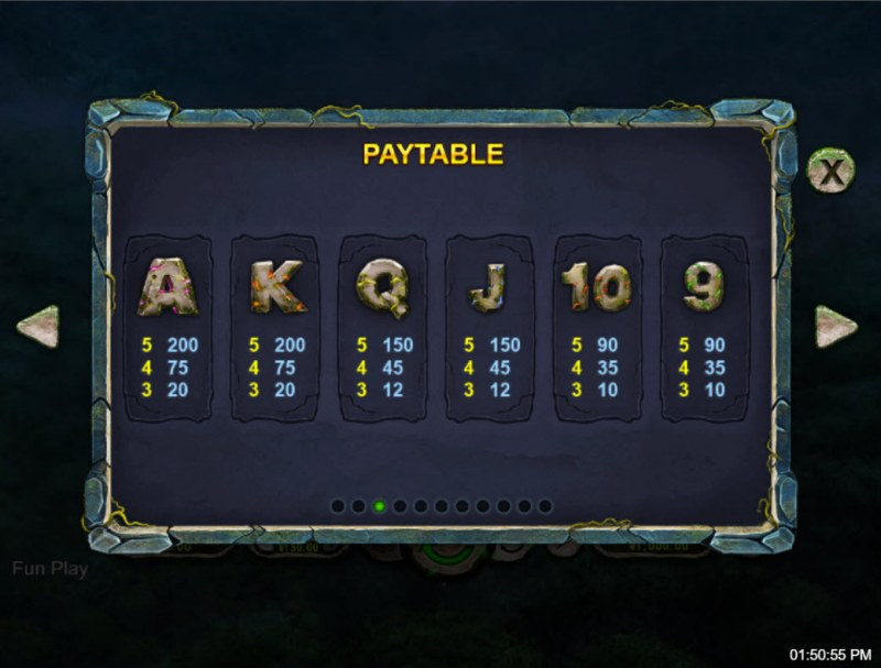 Ape King :: Paytable - Low Value Symbols