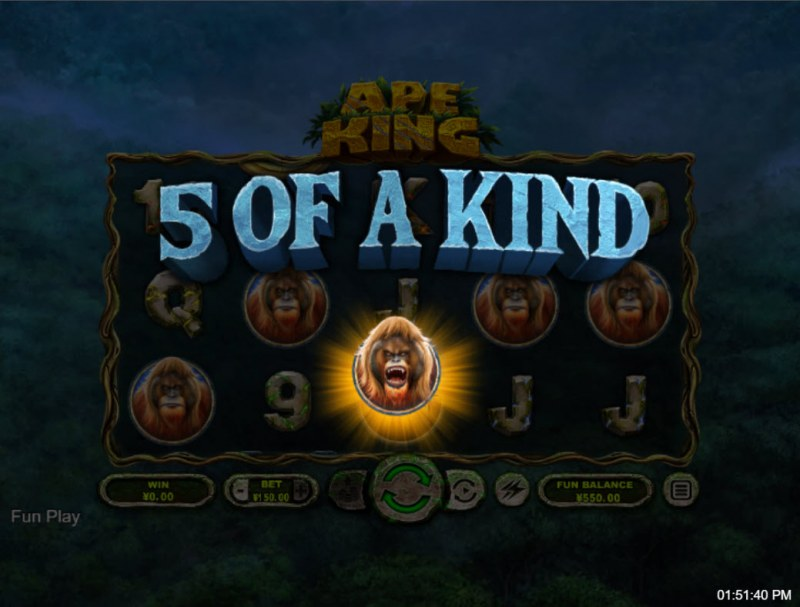 Ape King :: A five of a kind win