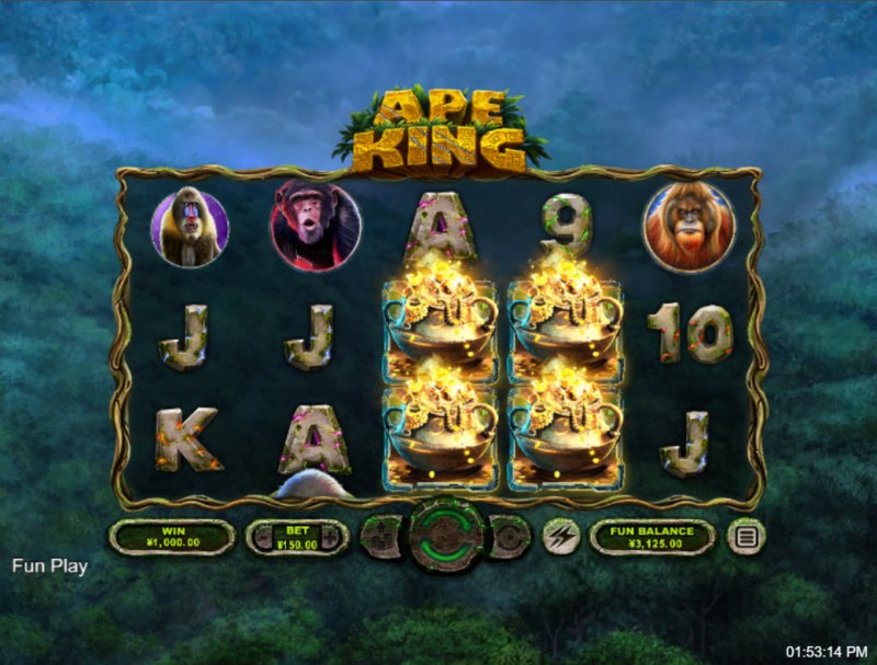 Ape King :: Scatter symbols triggers the free spins bonus feature
