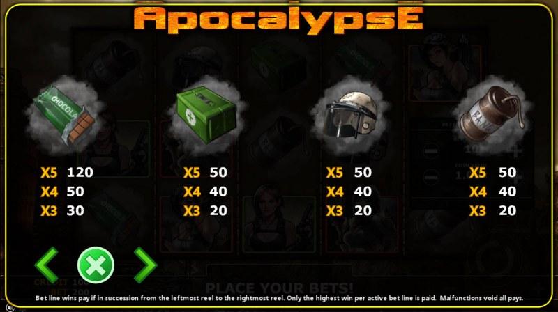 Apocalypse :: Paytable - Low Value Symbols