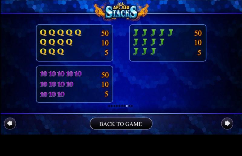 Apollo Stacks :: Paytable - Low Value Symbols