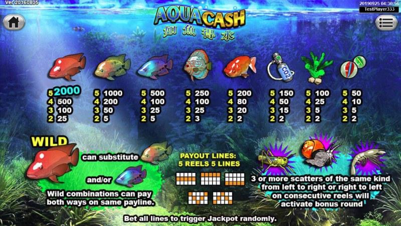 Aqua Cash :: Paytable