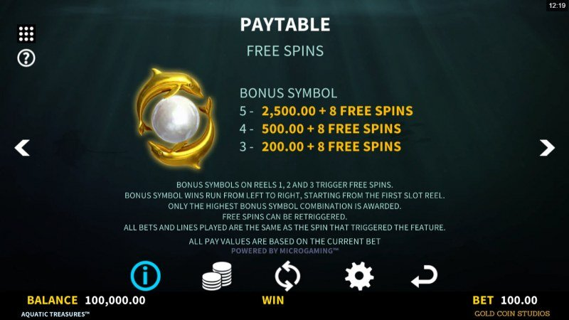 Aquatic Treasures :: Free Spin Feature Rules