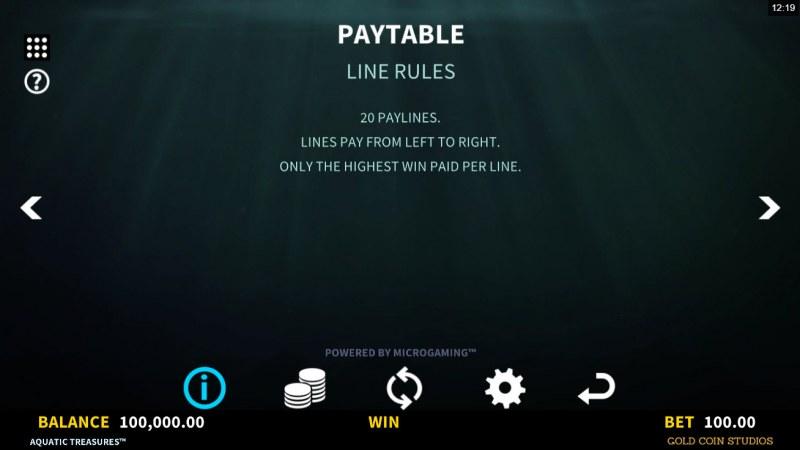 Aquatic Treasures :: Line Rules
