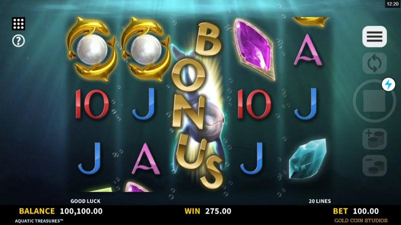 Aquatic Treasures :: Scatter symbols triggers the free spins bonus feature