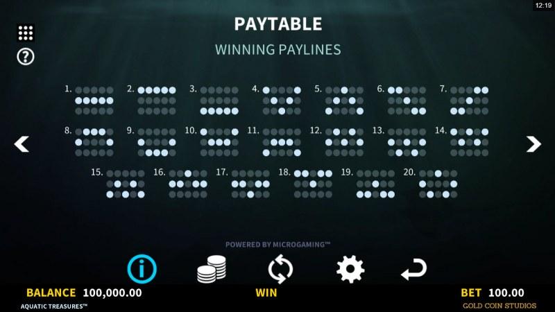 Aquatic Treasures :: Paylines 1-20