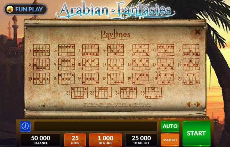 Arabian Fantasies :: Paylines 1-25