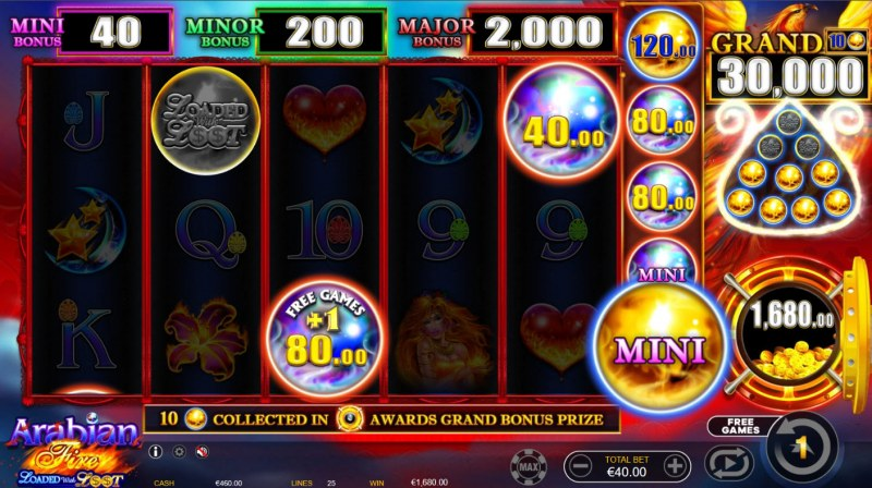 Arabian Fire Loaded with Loot :: Collect money symbols to win big