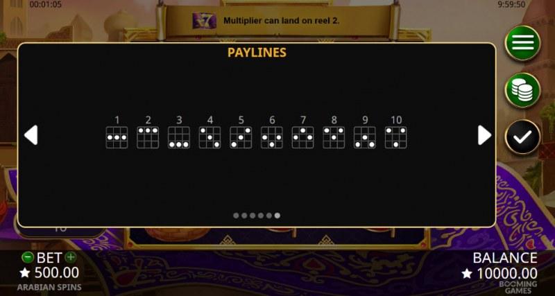 Arabian Spins :: Paylines 1-10