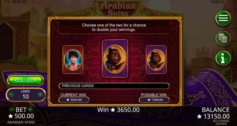 Arabian Spins :: Gamble Feature Game Board