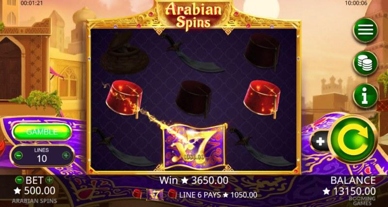Arabian Spins :: Three of a kind win