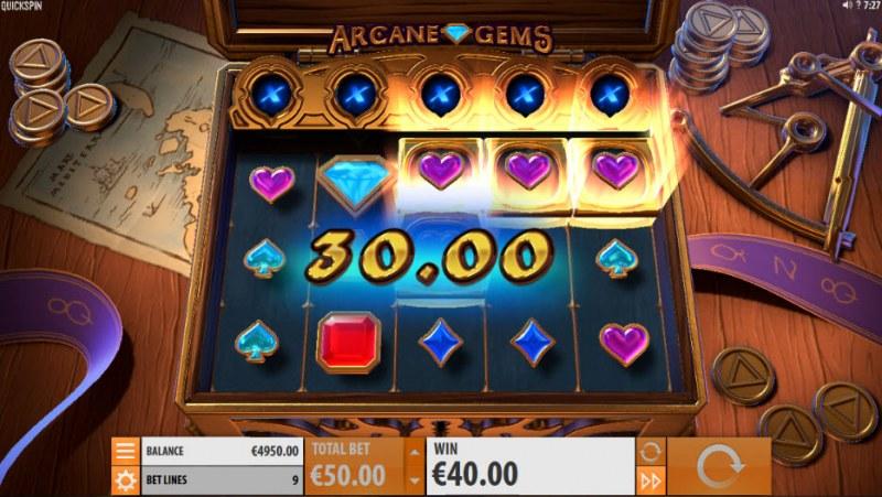 Arcane Gems :: Reels respin until no more of the same symbols appear