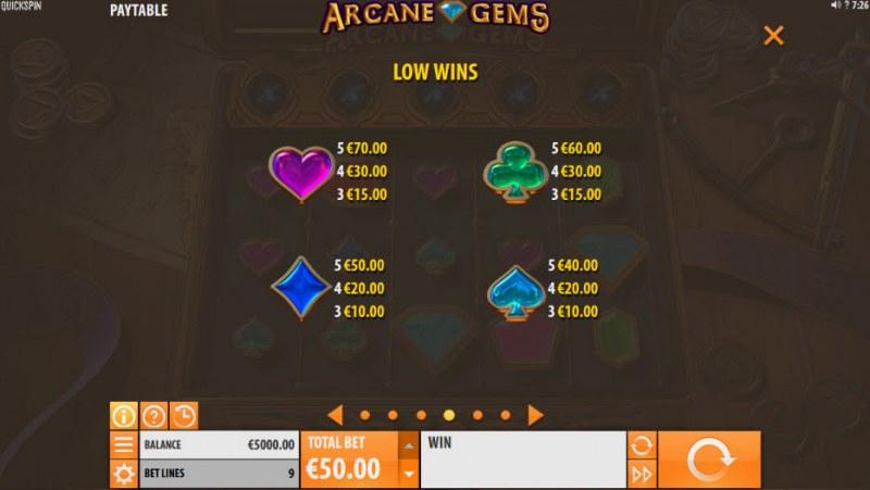 Arcane Gems :: Paytable - Low Value Symbols