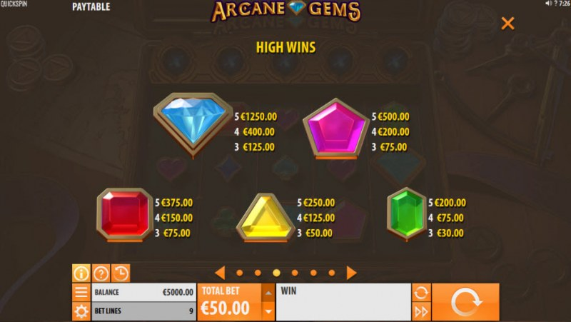 Arcane Gems :: Paytable - High Value Symbols