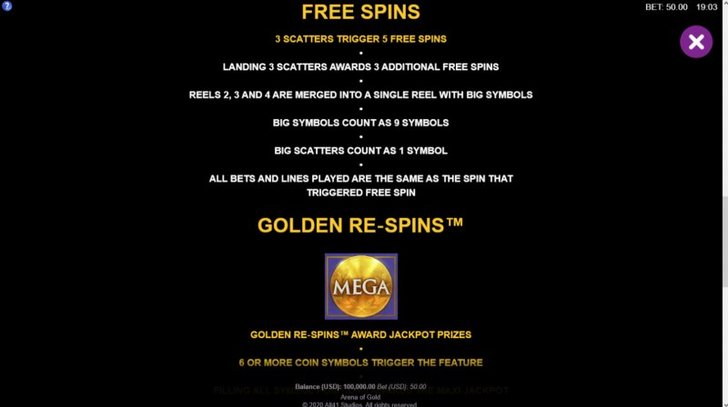 Arena of Gold :: Free Spins Rules