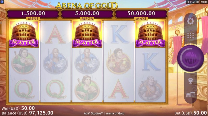 Arena of Gold :: Scatter symbols triggers the free spins feature