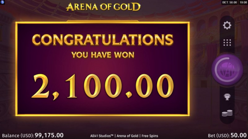 Arena of Gold :: Total free spins payout