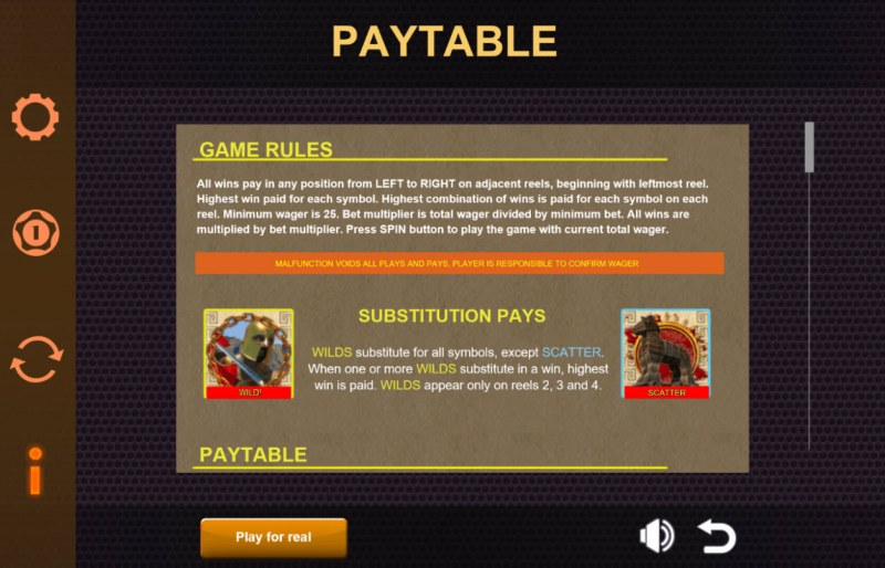 Play slots at Roaring 21: Roaring 21 featuring the Video Slots Ares The Battle for Troy with a maximum payout of $6,250