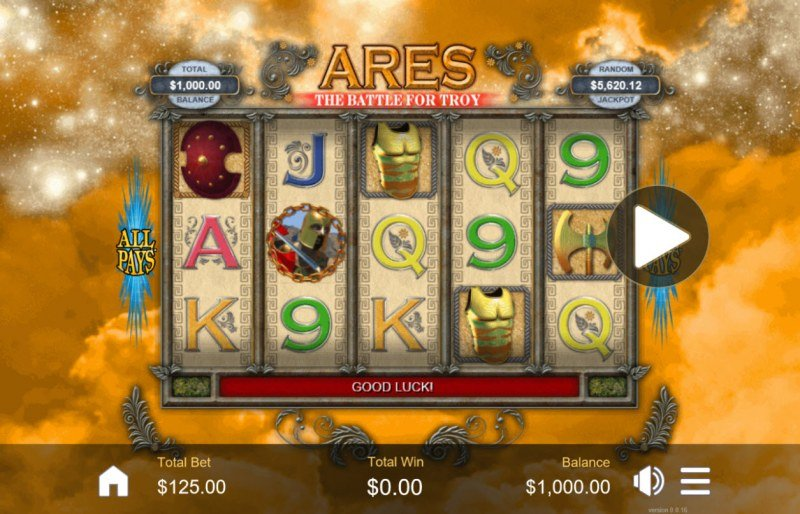 Play slots at El Royale: El Royale featuring the Video Slots Ares The Battle for Troy with a maximum payout of $6,250