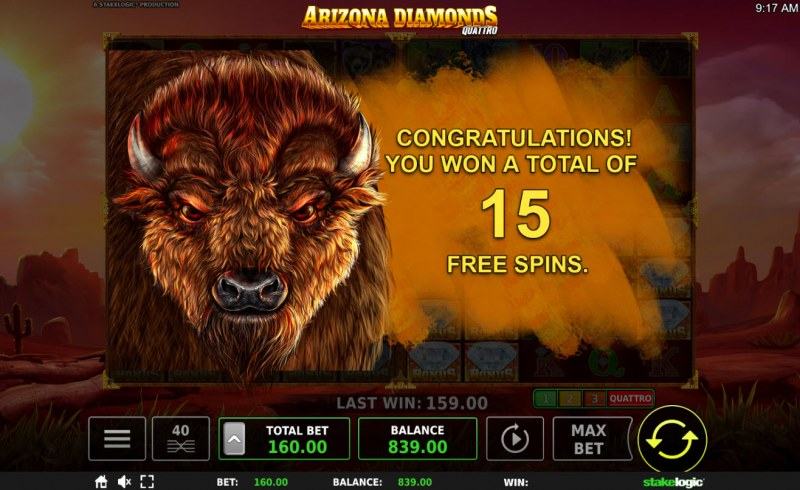 Arizona Diamonds Quattro :: 15 Free Games Awarded