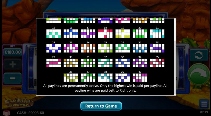 Armadillo Artie Gone Wild :: Paylines 26-50