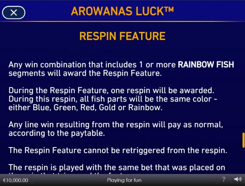 Arowanas Luck :: Respin Feature