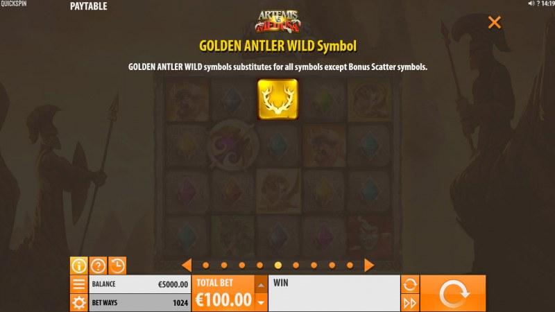 Artemis & Medusa :: Golden Antler Wild Symbol