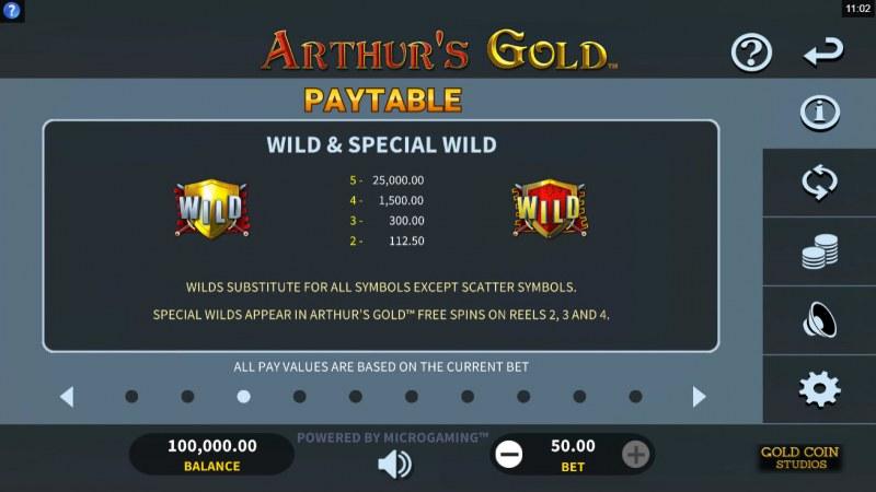 Arthur's Gold :: Wild Symbol Rules