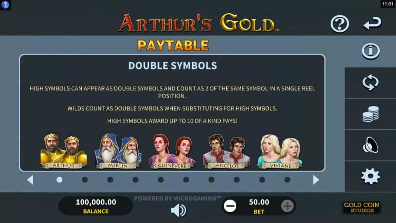 Arthur's Gold :: Double Symbols