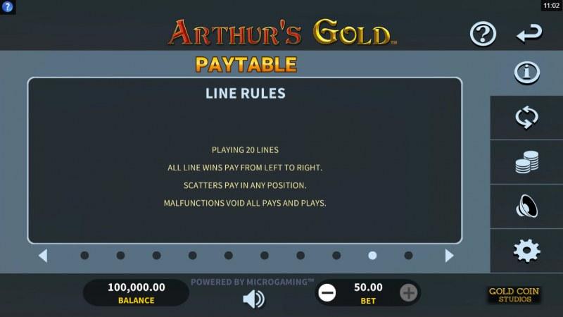 Arthur's Gold :: Line Rules
