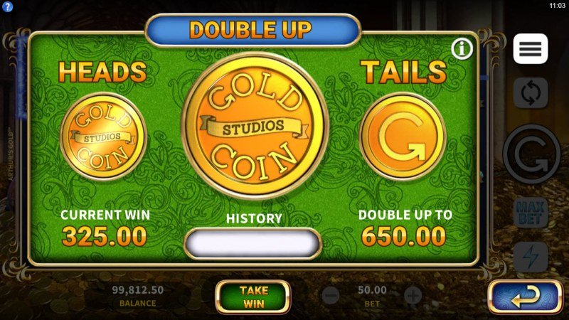 Arthur's Gold :: Heads or Tails Double Up Feature
