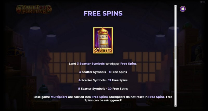 Artifacts Vault of Fortune :: Free Spins Rules