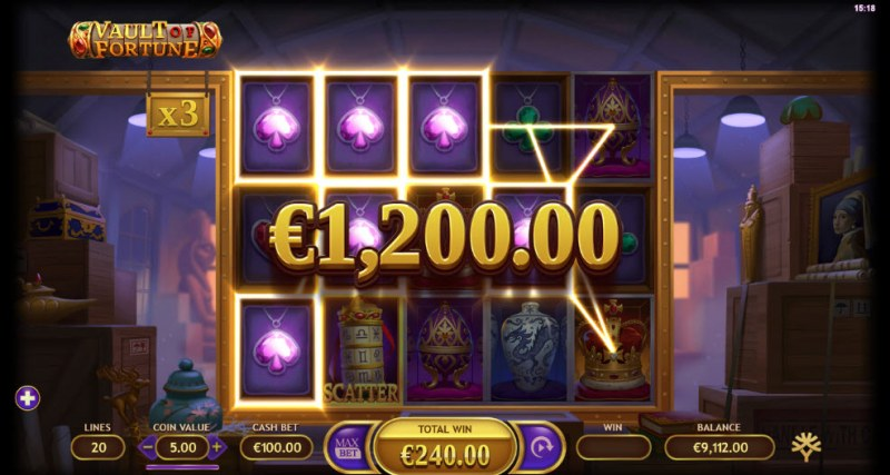 Artifacts Vault of Fortune :: Multiple winning paylines