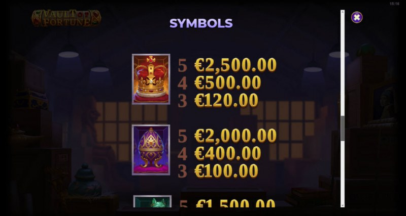 Artifacts Vault of Fortune :: Paytable - High Value Symbols