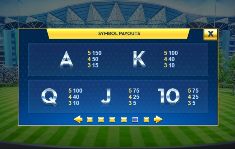 Ascot Sporting Legends :: Paytable - Low Value Symbols