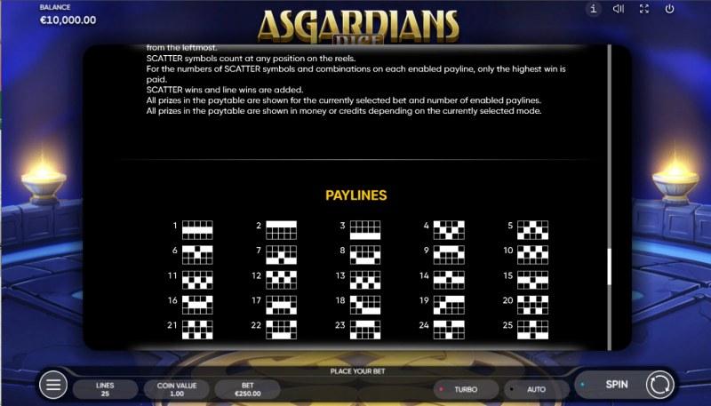 Asgardians Dice :: Paylines 1-25
