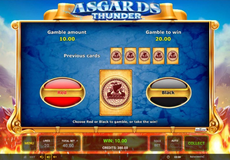Asgards Thunder :: Black or Red Gamble Feature