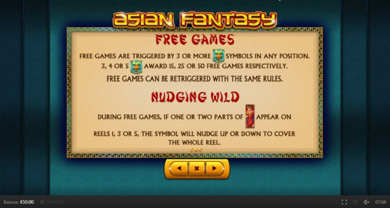 Asian Fantasy :: Free Spins Rules
