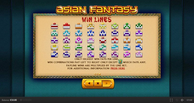 Asian Fantasy :: Paylines 1-40