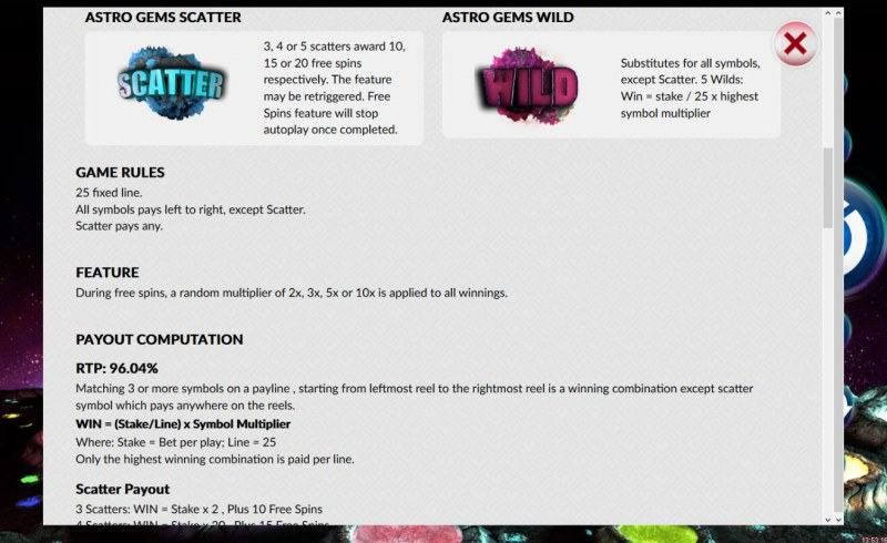 Astro Gems :: Wild and Scatter Rules