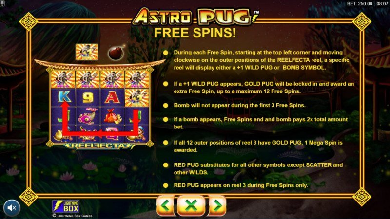 Astro Pug :: Free Spins Rules