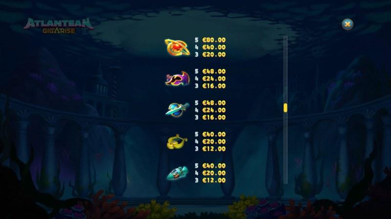 Atlantean Gigarise :: Paytable - Medium Value Symbols