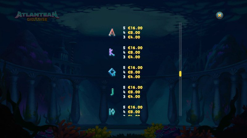Atlantean Gigarise :: Paytable - Low Value Symbols