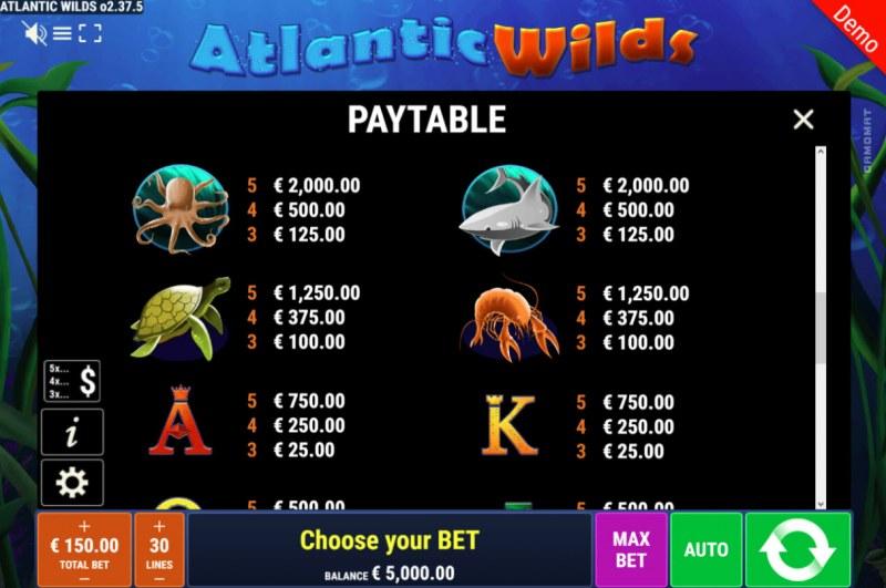 Atlantic Wilds :: Paytable - High Value Symbols