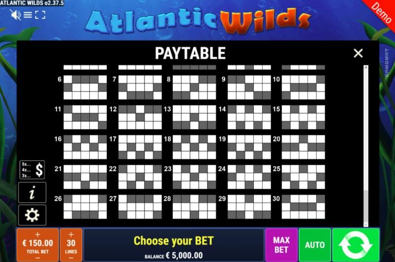 Atlantic Wilds :: Paylines 25-30